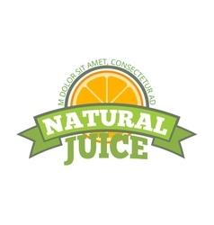 Natural orange juice logo label vector image vector image