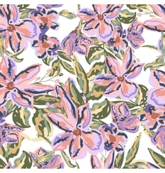 Painted flowers seamless background in vector image