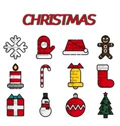 Set of flat Christmas icons vector image
