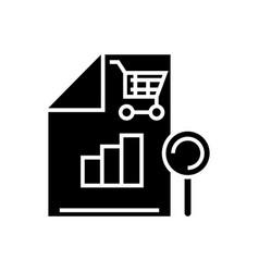 shopping analysis icon black vector image