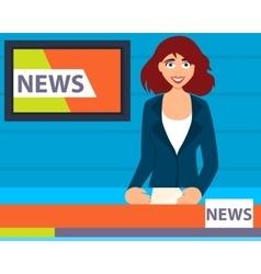 Television presenter tells news vector image vector image