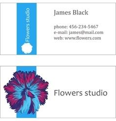 Blue floral design business card vector image