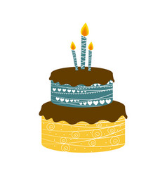 color cake party with canddles icon vector image