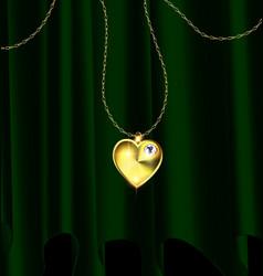 green drape and golden heart pendant vector image vector image