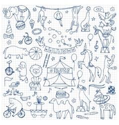 Hand drawn circus set vector image