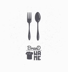 Hand drawn silhouette of spoon and fork vector