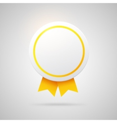 Round award with golden ribbons vector image