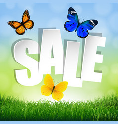 sale banner with grass border vector image vector image