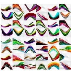 Set of blurred flowing waves backgrounds vector image vector image