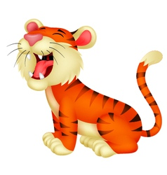Tiger cartoon roaring vector image vector image