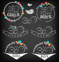 Vintage Baby Girl Boy and Twins Badge Set vector image vector image