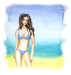 woman and ocean beach vector image