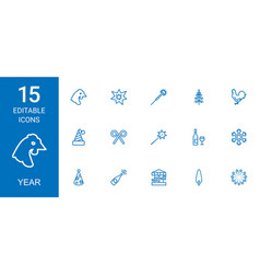 15 year icons vector image