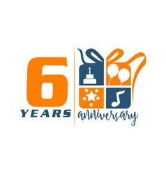 6 years gift box ribbon anniversary vector