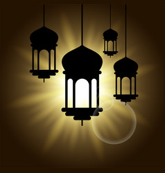 arabic lantern black shadow silhouette with sun vector image