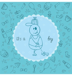 Baby card its a boy theme vector