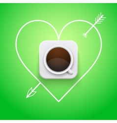 Background cup of coffee and heart with arrow vector image