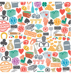 background pattern with casino or gambling icons vector image