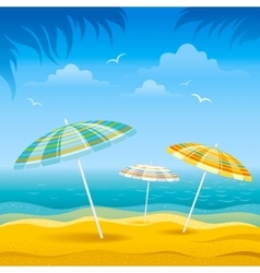 Beach background with blue sea and stripped beach vector image