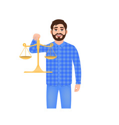 Bearded man holds scales man weighs something guy vector