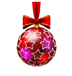 beautiful christmas red ball with bow and drawn vector image