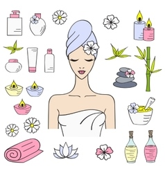 Beautiful woman spa vector