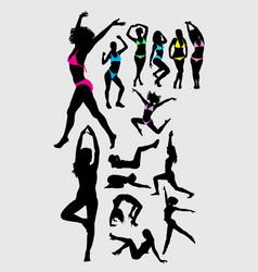 bikini and sport female silhouette vector image