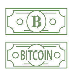 bitcoin b letter green symbol styled as dollar vector image