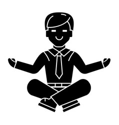 businessman relax - meditation icon vector image vector image