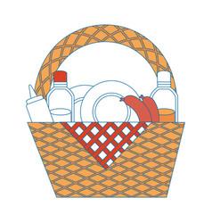 Camping basket cartoon vector