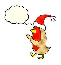 cartoon christmas robin with thought bubble vector image