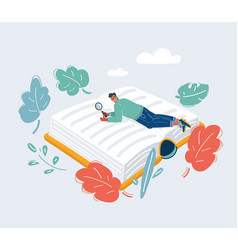 cartoon tiny man lies on book vector image