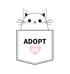 cat face in pocket adopt me pink heart cute vector image