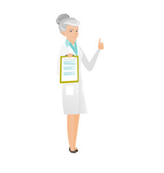 caucasian doctor with clipboard giving thumb up vector image