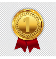 champion art golden medal with red ribbon l icon vector image vector image