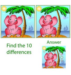 Childrens visual puzzle find ten differences in vector