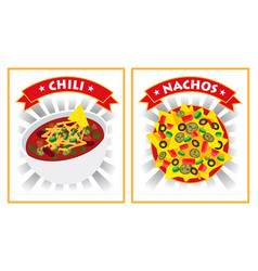 chili and nachos vector image