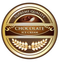 Chocolate ice cream label vector