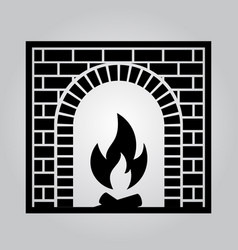 classic brick fireplace vector image