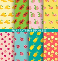 Colorful fruit seamless pattern set vector