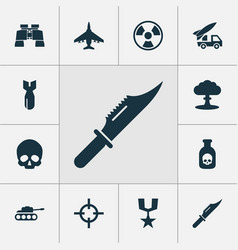 combat icons set with poison bomb artillery and vector image