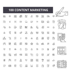 content marketing editable line icons 100 vector image