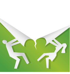 couple ripping green paper spring sale backgroun vector image