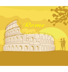 Couple silhouette in front of Colosseum in Rome vector image