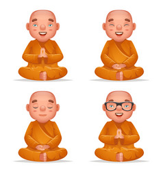 cute buddhist sitting monk traditional asian vector image
