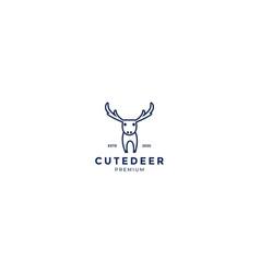 Cute deer or antelope line minimalist logo design vector