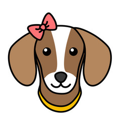cute dog face simple black outline head isolated vector image