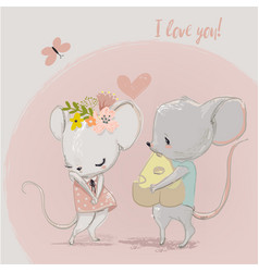 Cute mouse couple vector
