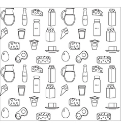 Dairy product seamless pattern Modern line vector