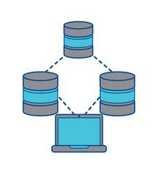 Databases with laptop data center icon image vector